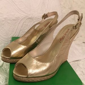 Lily Pulitzer Kristin Wedge Gold Metallic 8.5 M